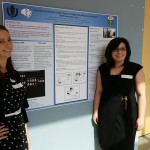 "Presenters pose with their poster ""Functional connectivity in monologue vs dialogue storytelling task: an fMRI and fNRS comparison study"" at the 2016 UConn Language Fest."
