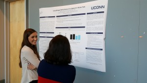 """A student presents her poster """"Early Bilingual Performance on a Speech-in-Noise Task"""" at the 2016 UConn Language Fest."""