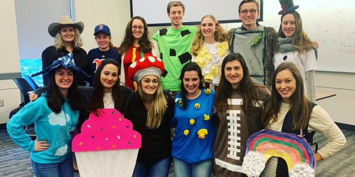 Audiology students dress up for Halloween as the classic Spondee words used in hearing evaluations, like rainbow, cupcake, football, and hot dog.